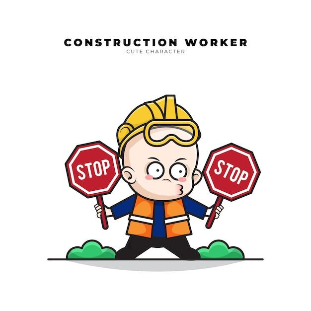 Schattige cartoon karakter van baby bouwvakker hield een stopbord in beide handen Premium Vector