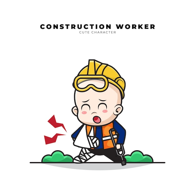 Schattige cartoon karakter van baby bouwvakker met een gebaar van fractuur arm en been Premium Vector