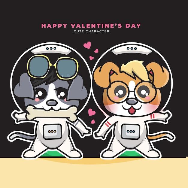Schattige cartoon karakter van paren astronaut hond en gelukkige valentijnsdag Premium Vector