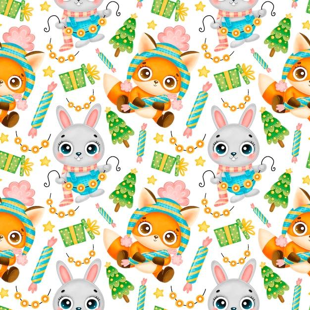 Schattige cartoon kerst dieren naadloze patroon. kerst vos en konijn patroon. Premium Vector