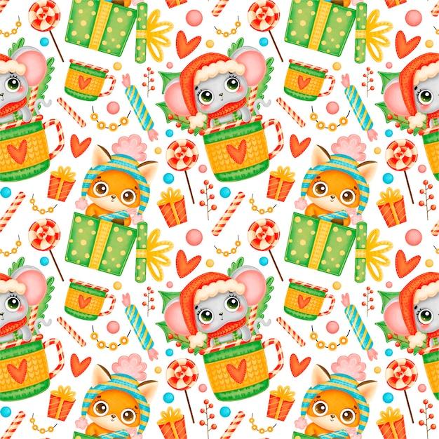 Schattige cartoon kerst dieren naadloze patroon. kerst vos en muis patroon. Premium Vector