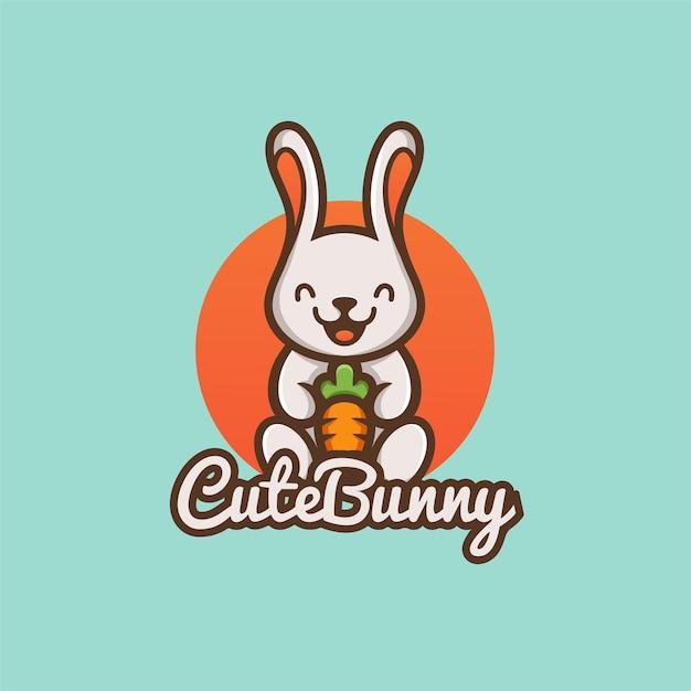 Schattige cartoon konijn houdt wortel natuur biologische plantaardige boerderij mascotte logo Premium Vector