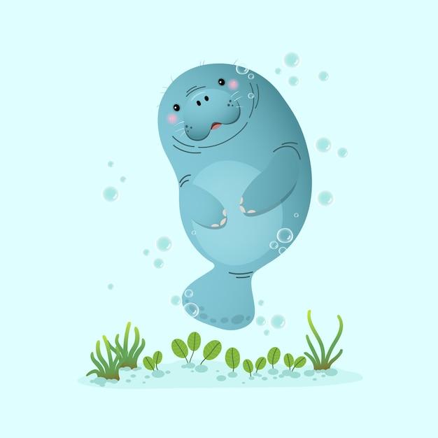 Schattige cartoon lamantijn onderwater zwemmen met zeegras. Premium Vector