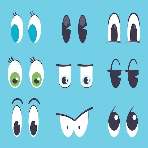Schattige cartoon ogen vector platte set geïsoleerd op blauwe achtergrond. Premium Vector