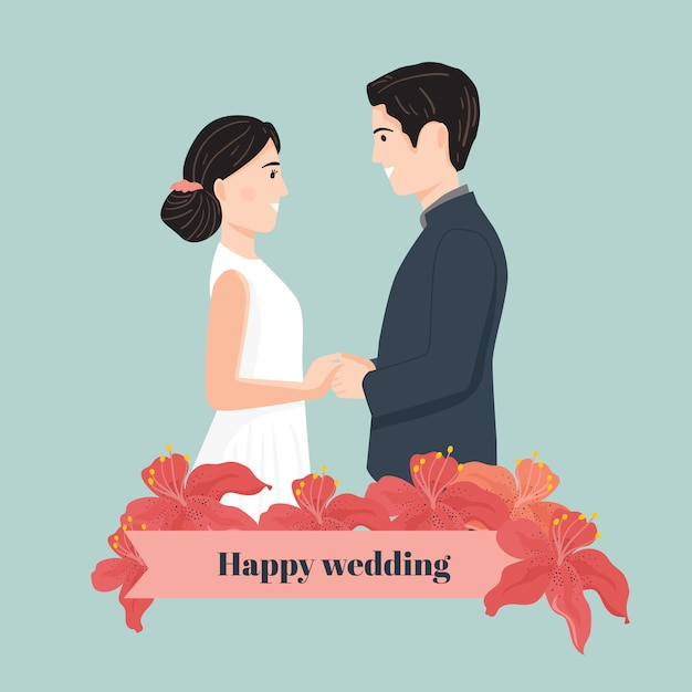 Schattige cartoon paar bruid en bruidegom Premium Vector