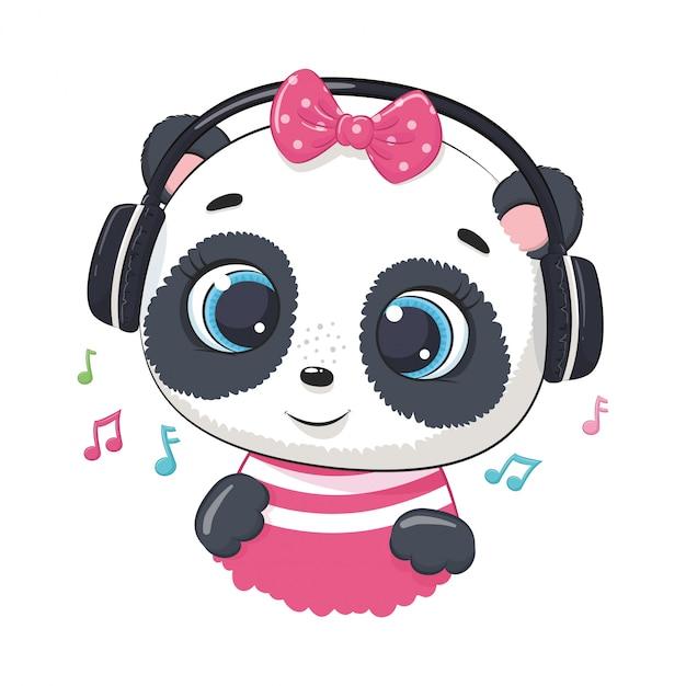 Schattige cartoon panda meisje met koptelefoon luisteren naar muziek Premium Vector