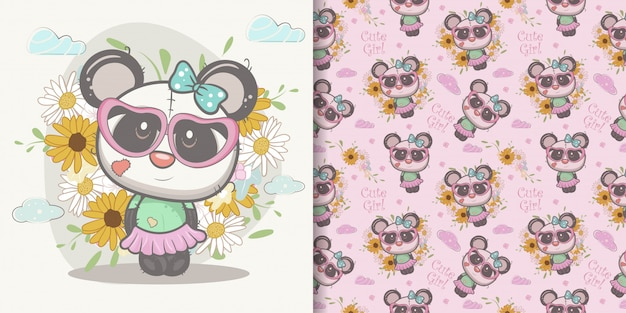 Schattige cartoon panda meisje met naadloze patroon Premium Vector