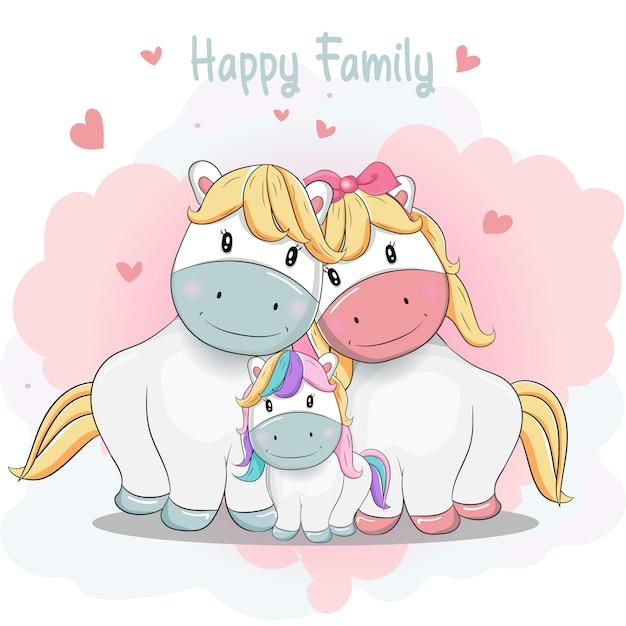 Schattige cartoon pony familie Premium Vector