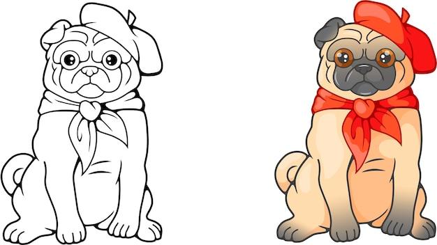 Schattige cartoon pug Premium Vector
