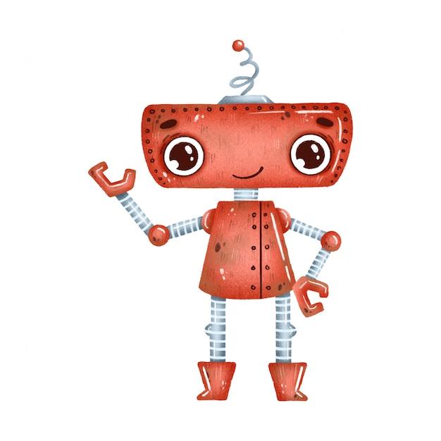 Schattige cartoon rode robot met grote ogen op een witte achtergrond Premium Vector