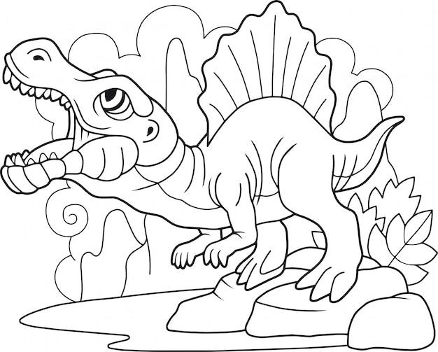Schattige cartoon spinosaurus Premium Vector