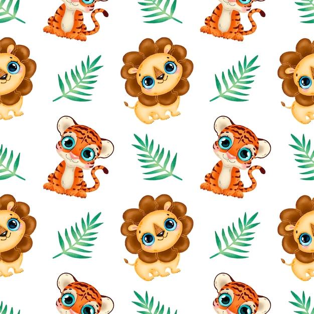 Schattige cartoon tropische dieren naadloze patroon. baby leeuw en tijger naadloze patroon. Premium Vector