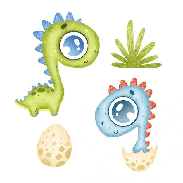 Schattige cartoon tropische dinosaurussen ingesteld op een witte achtergrond Premium Vector