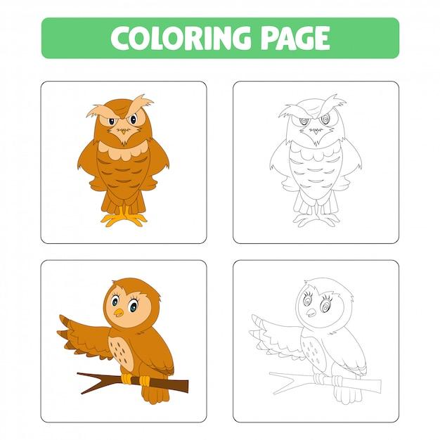 Schattige cartoon uilen, kleurboek Premium Vector