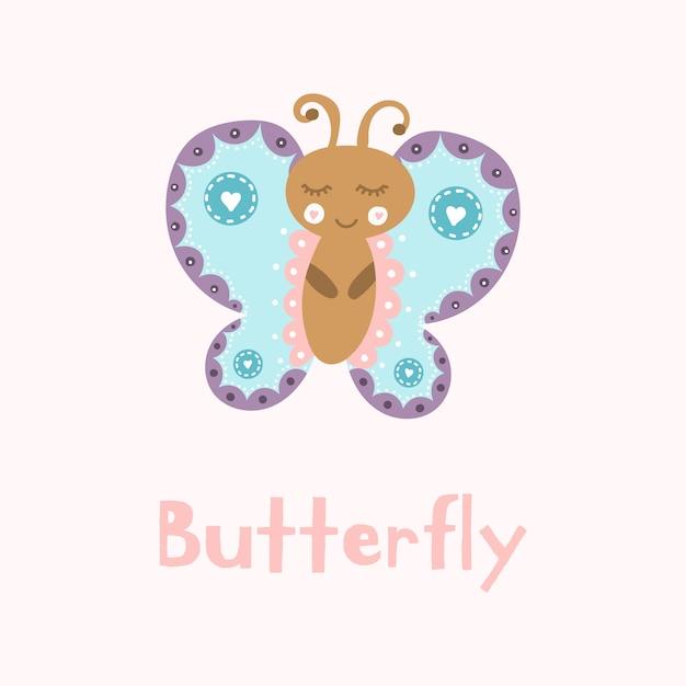 Schattige cartoon vlinder. pastelkleur. Premium Vector