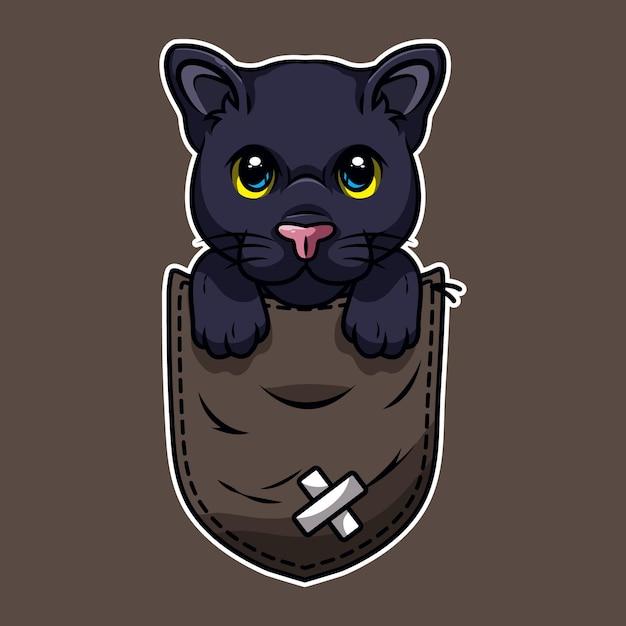 Schattige cartoon zwarte panter in een zak Premium Vector