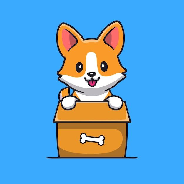 Schattige corgi dog spelen in doos cartoon Gratis Vector