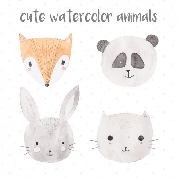 Schattige dieren aquarel Gratis Vector