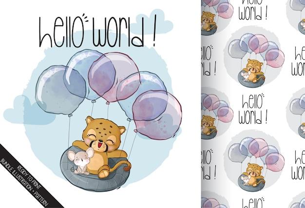 Schattige dieren baby tijger vliegen met ballon naadloze patroon Premium Vector