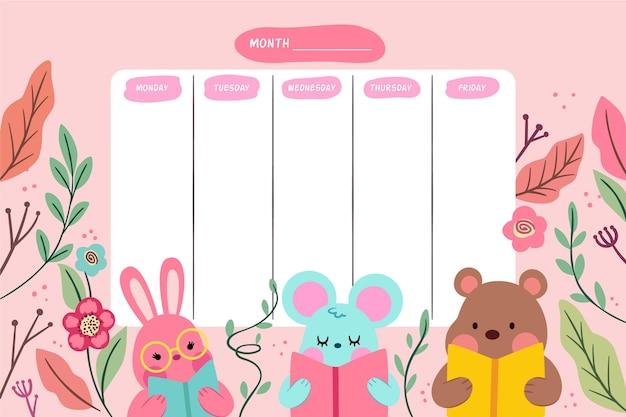 Schattige dieren cartoon platte ontwerp school tijdschema Gratis Vector