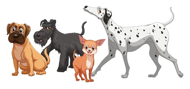 Schattige dieren hond groep geïsoleerd Gratis Vector