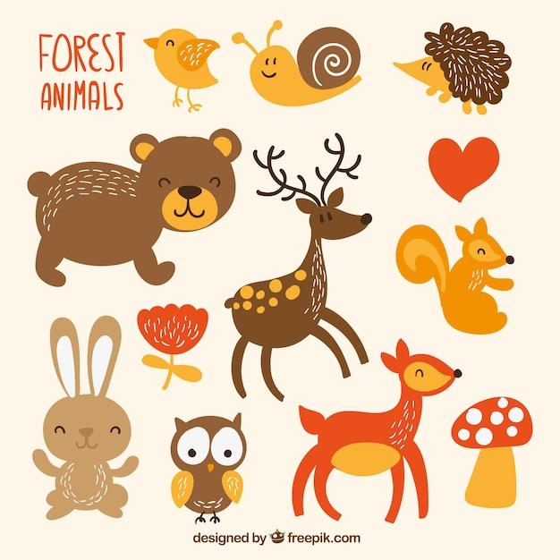 Schattige dieren in het bos Gratis Vector