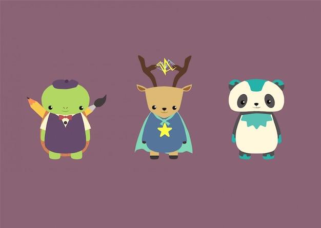 Schattige dieren mascotte superhelden set bundel, panda, schildpad, herten Premium Vector