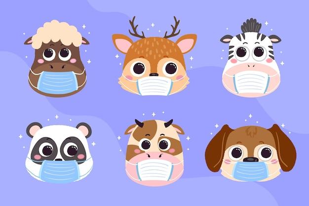 Schattige dieren met gezichtsmaskers Gratis Vector