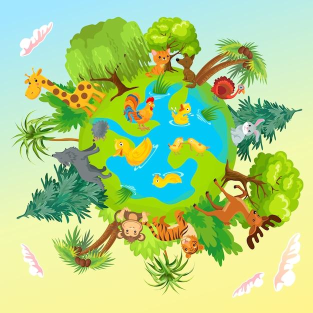Schattige dieren op de planeet. aarde bescherming. Gratis Vector