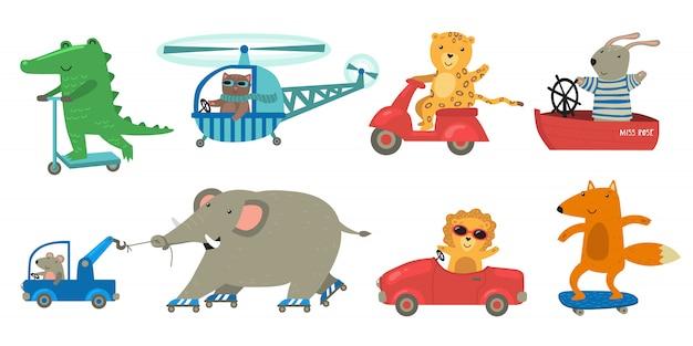 Schattige dieren rijden speelgoed transportset Gratis Vector