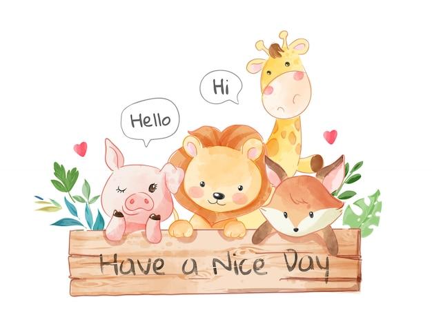 Schattige dieren vrienden met houten bord board illustratie Premium Vector