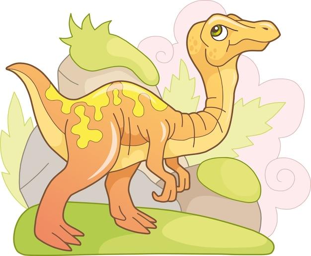 Schattige dinosaurus gallimimus Premium Vector