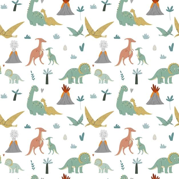 Schattige dinosaurussen, moeder en baby. prehistorie. kinder illustratie. Premium Vector