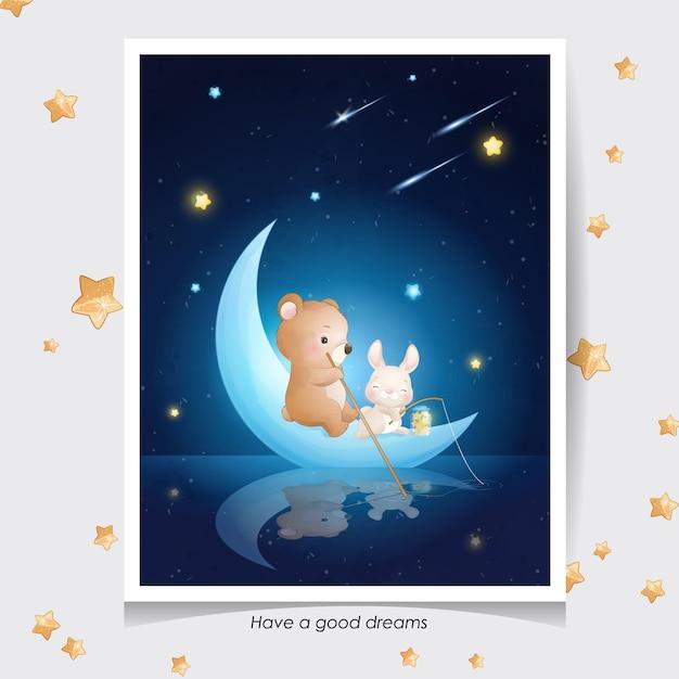 Schattige doodle beer en klein konijntje met aquarel illustratie Premium Vector