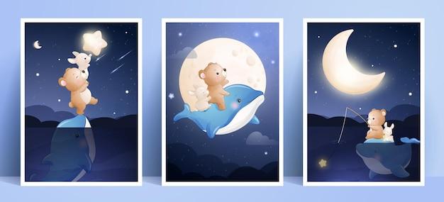 Schattige doodle beer en konijn met frame-collectie Premium Vector