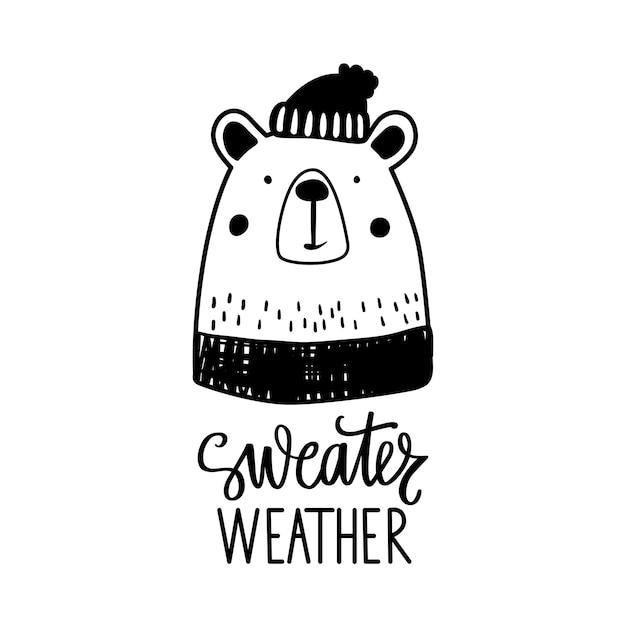 Schattige doodle beer in trui en muts. Premium Vector
