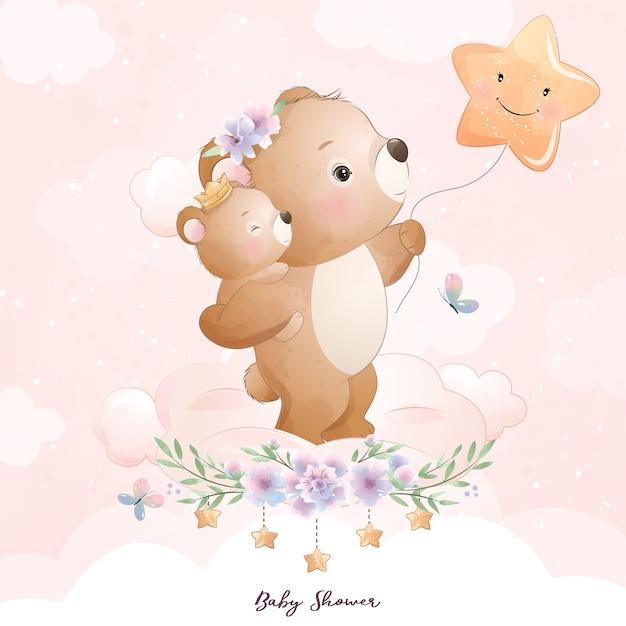 Schattige doodle beer met bloemen illustratie Premium Vector