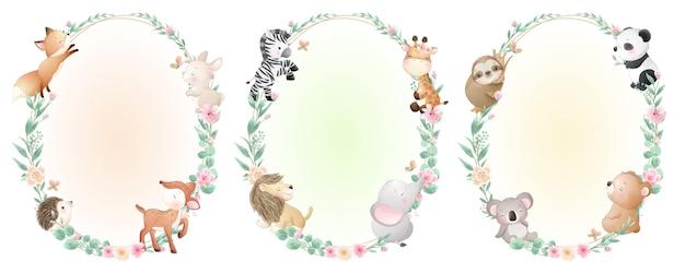 Schattige doodle dieren met bloemencollectie Premium Vector