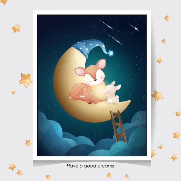 Schattige doodle herten en klein konijntje met aquarel illustratie Premium Vector