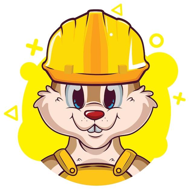 Schattige eekhoorn avatar met helm Premium Vector