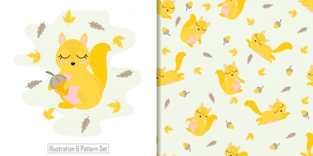 Schattige eekhoorn dierlijke naadloze patroon met hand getrokken illustratie kaartenset Premium Vector