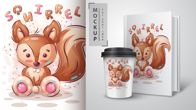 Schattige eekhoorn merchandising Gratis Vector
