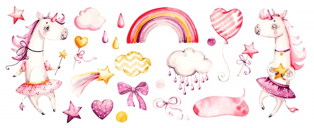 Schattige eenhoorn babymeisje. aquarel kwekerij cartoon magische dieren, roze wolken, regenboog. schattige nurseries prinses set Premium Vector