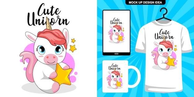 Schattige eenhoorn illustratie en merchandising Premium Vector