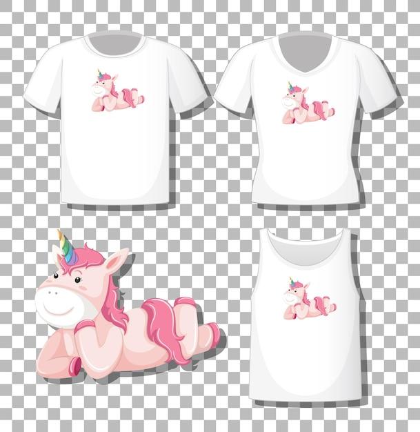 Schattige eenhoorn stripfiguur leggen met set van verschillende shirts geïsoleerd op transparante achtergrond Gratis Vector