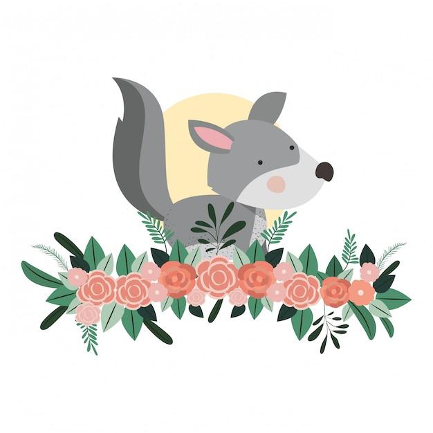 Schattige en schattige hond met florale decoratie Premium Vector