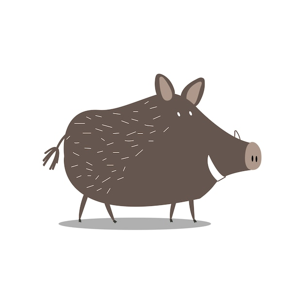 Schattige everzwijn cartoon illustratie Gratis Vector