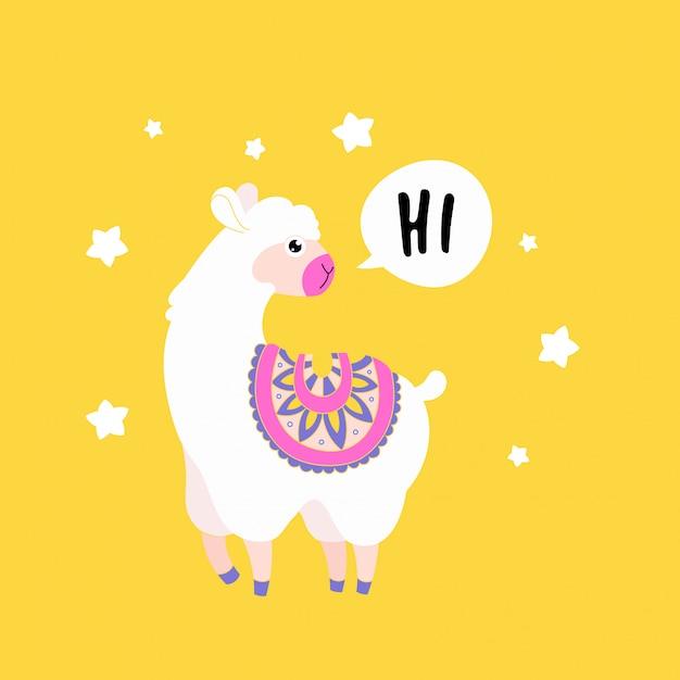 Schattige fluffy lama alpaca zeg hallo. grappige dierenprintkaart. Premium Vector
