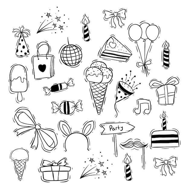Schattige gelukkige verjaardag iconen met ijs, snoep en ballon Premium Vector