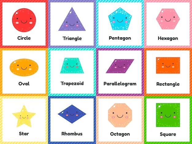 Schattige geometrische figuren voor kinderen instellen. Premium Vector